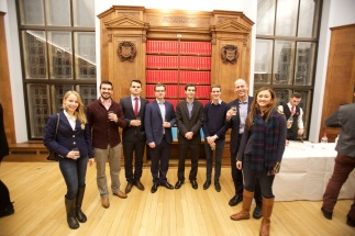 Pre-dinner drinks in the Webb Library in West Court, Jesus College (L-R Lisa Martin, Apostolos Papadimitriou,Lukas Vician, Christian Holm, Jason Sharman, Rasmus Christensen, Morten Broberg, May Hen)