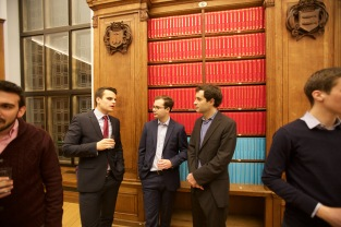 Pre-dinner drinks in the Webb Library in West Court, Jesus College (L-R Lukas Vician, Christian Holm, Jason Sharman)
