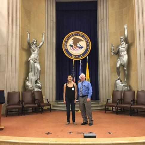 May Hen with her DOJ host, Tom Sawyer